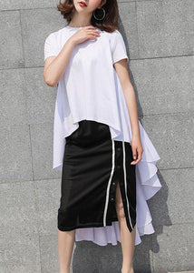 Simple white cotton Long Shirts low high design summer top