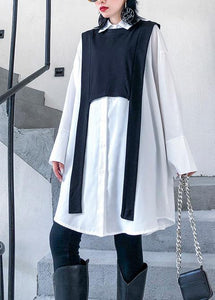 Simple white cotton tunic top two pieces oversized wild shirt