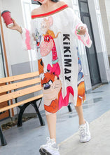 Load image into Gallery viewer, Simple white prints cotton clothes For Women Slash neck Robe summer Dresses