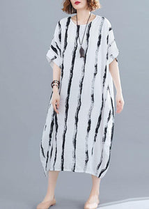 Simple white striped cotton quilting dresses o neck pockets long summer Dresses