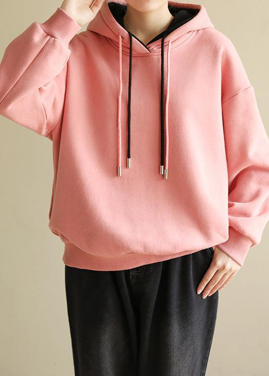 Simple wild cotton Double-layer hooded tunics for women Shirts pink blouse