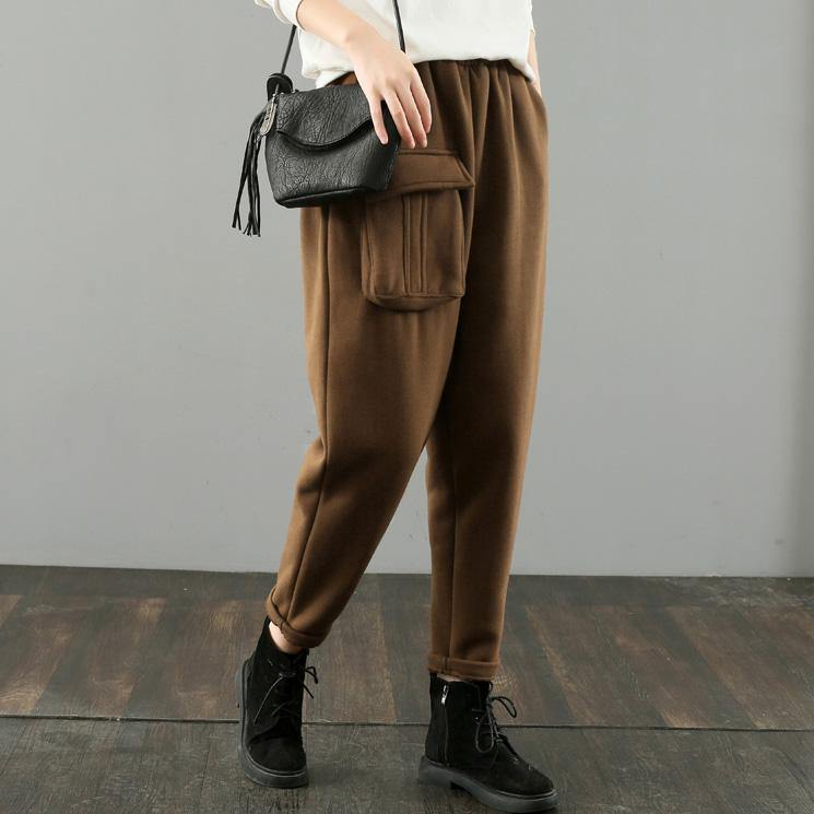 Simple women trousers Thin chocolate Fabrics pockets harem pants wild pants