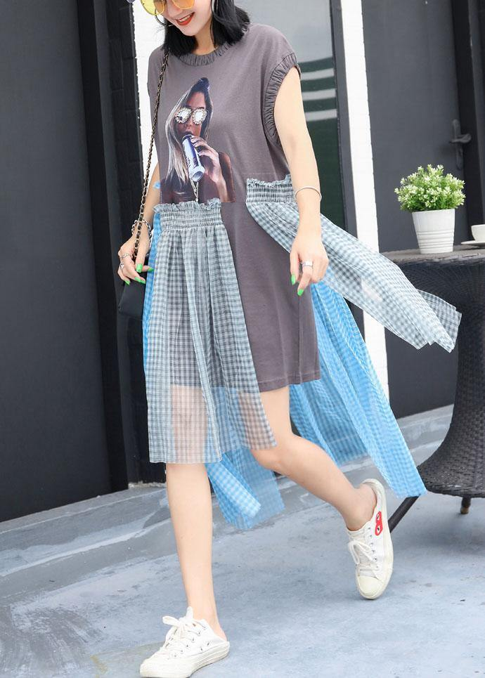 Simple wrinkled o neck cotton Long Shirts Work Outfits gray patchwork cotton Dress summer