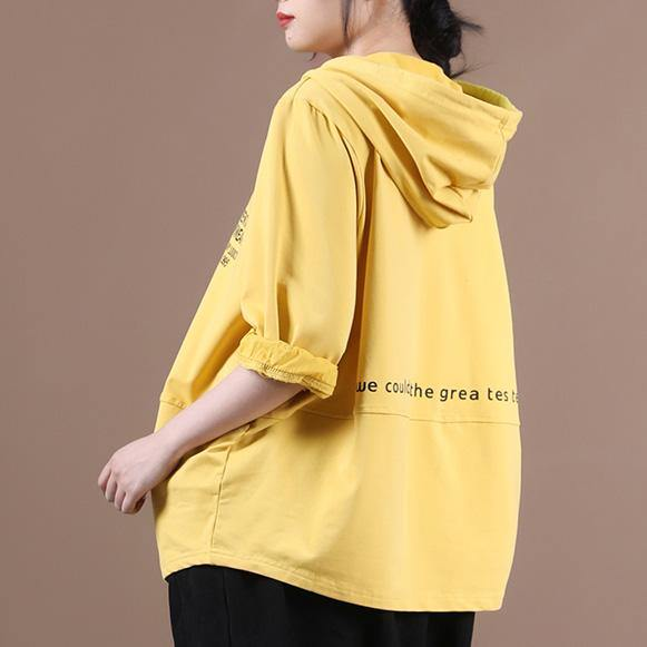 Simple yellow Letter shirts hooded patchwork loose shirt