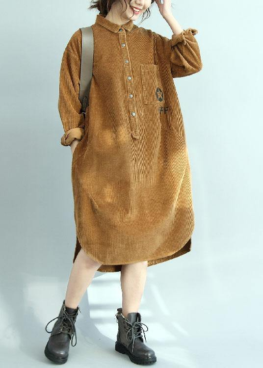 Simple yellow corduroy Tunic side open Knee fall Dresses