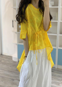Simple yellow prints linen Long Shirts low high design box summer blouses