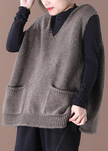 Spring 2020 new Korean version of loose large size literary hooded wild knit waistcoat sweater coat female
