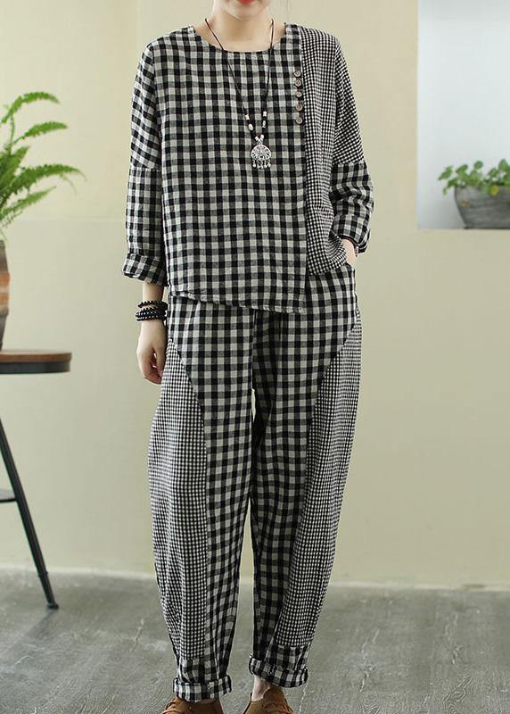 Spring 2021 art Retro Plaid women's splicing casual suit