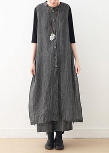 Spring cotton and linen art fresh gray striped two-piece suit cardigan wide leg pants