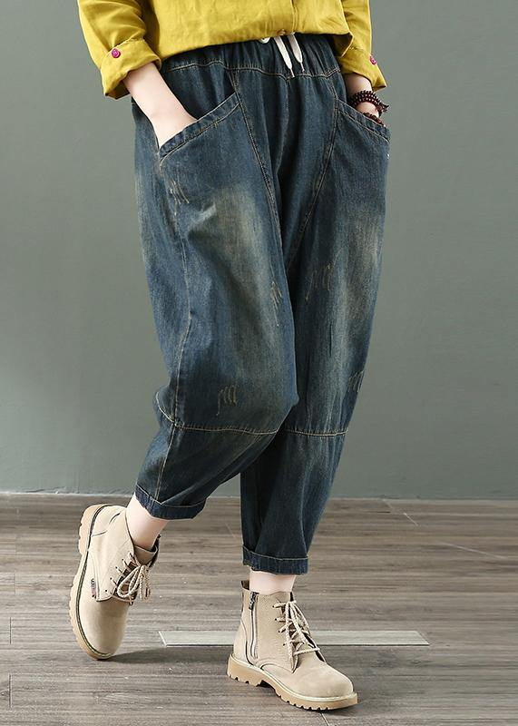 Spring nine points cross pants denim harem pants female elastic waist retro loose trousers