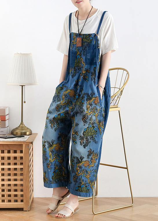 Spring original literary fashion retro ethnic style blue printed loose denim overalls