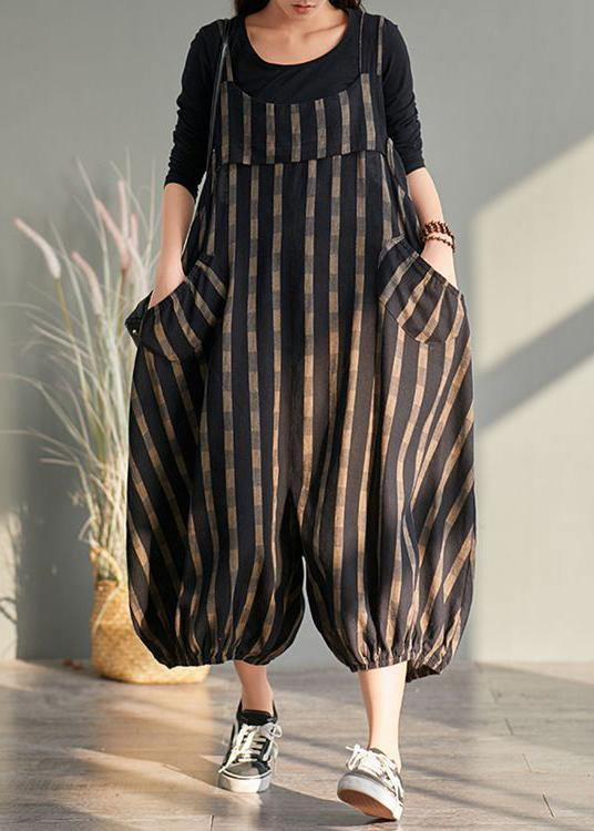 Spring plus size plus fertilizer to increase bloomers striped cotton and linen jumpsuit