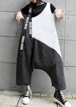Load image into Gallery viewer, Strap slim retro black gray patchwork overalls casual pants jeans women