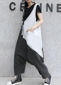 Strap slim retro black gray patchwork overalls casual pants jeans women