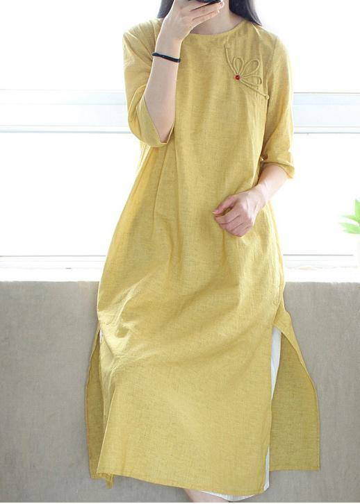 Style O Neck Side Open Dresses Catwalk Yellow Robes Dress