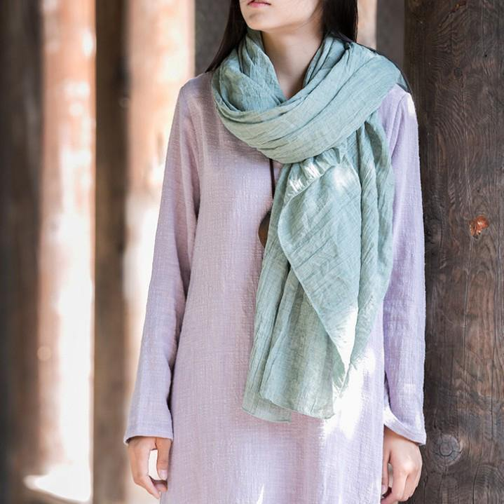 Style Organic Simple Pure Color Cotton Linen Scarf