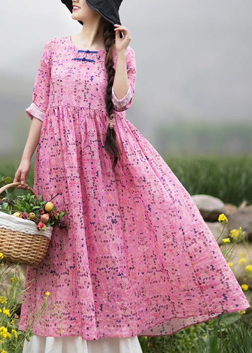 Style Pink Print Dresses O Neck Chinese Button Traveling Spring Dresses
