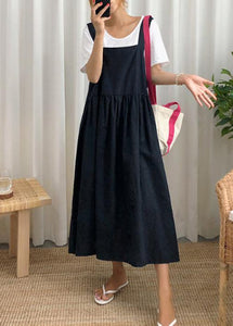 Style Spaghetti Strap wrinkled linen cotton clothes For Women Sewing black Dress