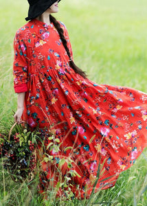 Style Stand Spring Clothes For Women Design Red Print Dresses