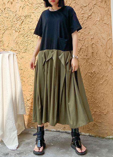 Style army green cotton clothes Women o neck patchwork Traveling summer Dresses