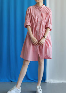 Style asymmetric wrinkled Cotton quilting clothes Work Outfits pink Dress fall