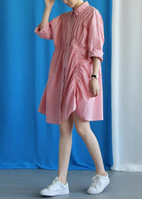 Load image into Gallery viewer, Style asymmetric wrinkled Cotton quilting clothes Work Outfits pink Dress fall