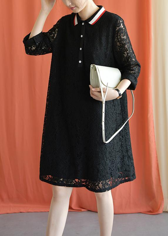 Style black Cotton clothes lapel lace Plus Size fall Dress