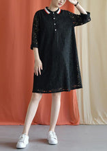 Load image into Gallery viewer, Style black Cotton clothes lapel lace Plus Size fall Dress