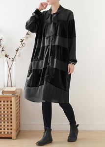 Style black Cotton quilting clothes patchwork Bow Art fall Dress
