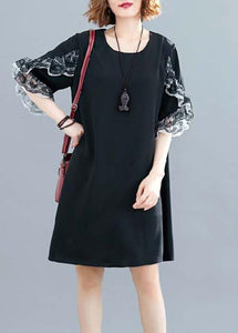 Style black chiffon dresses Fashion Ideas o neck Petal Sleeve Traveling Summer Dresses