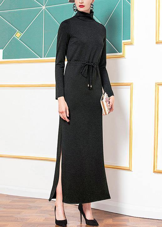 Style black cotton clothes high neck cotton robes side open Dresses