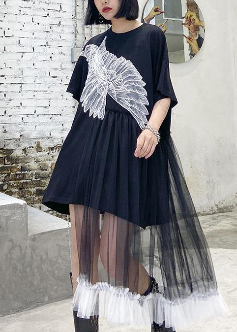 Style black dresses o neck patchwork tulle Midi Dresses