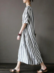 Style black striped cotton tunics for women o neck patchwork Art Dress