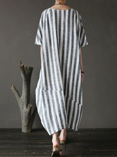 Load image into Gallery viewer, Style black striped cotton tunics for women o neck patchwork Art Dress