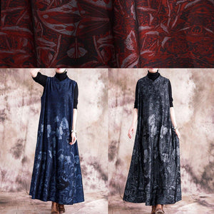 Style blue print cotton quilting dresses stand collar Chinese Button sleeveless Maxi fall Dress