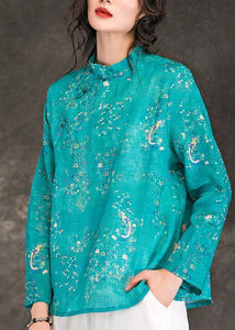 Style blue print linen clothes For Women Indian Tutorials o neck stand collar short Summer shirt
