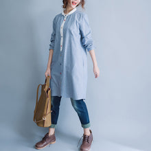 Load image into Gallery viewer, Style blue white striped Cotton tunic pattern Mom Tunic Tops o neck baggy spring Dress