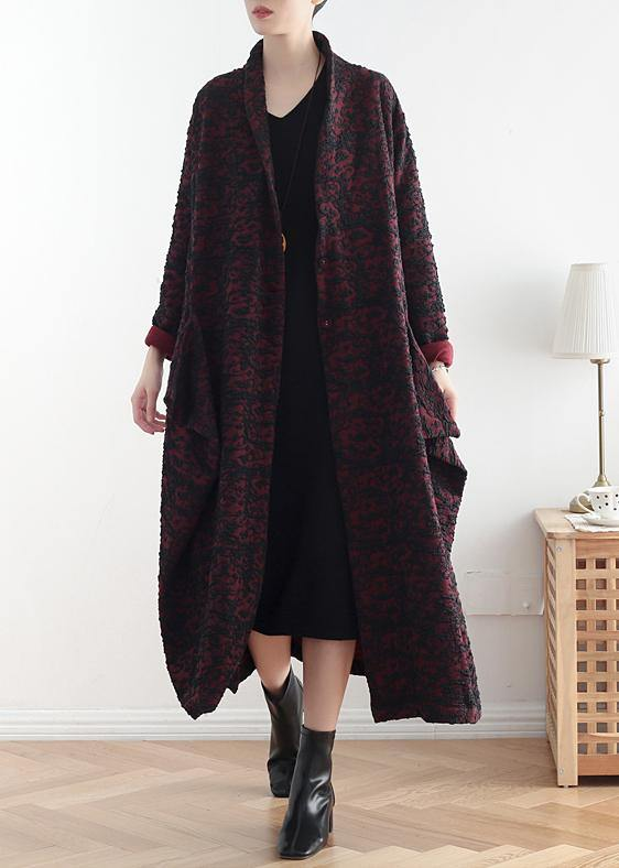 Style burgundy jacquard fine clothes pattern asymmetric coats