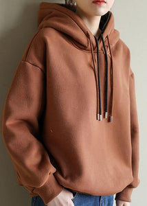 Style chocolate cotton top silhouette wild box Double-layer hooded tops