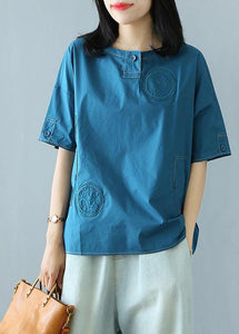 Style clothes For Women Pakistani Summer Cotton Solid Buttons Half Sleeve T-shirt
