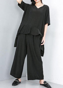 Style cotton Korea Summer Pure Color Irregular Blouse And Wide Leg Pants