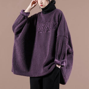 Style dark purple embroidery tunic top high neck Letter Plus Size Clothing shirts