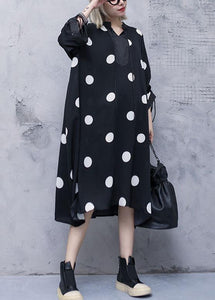 Style drawstring chiffon spring Robes Fine Sewing black dotted Traveling Dresses