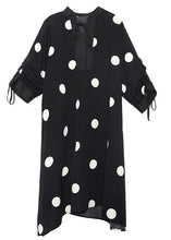 Load image into Gallery viewer, Style drawstring chiffon spring Robes Fine Sewing black dotted Traveling Dresses