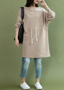Style drawstring side open Cotton quilting dress khaki Dress fall