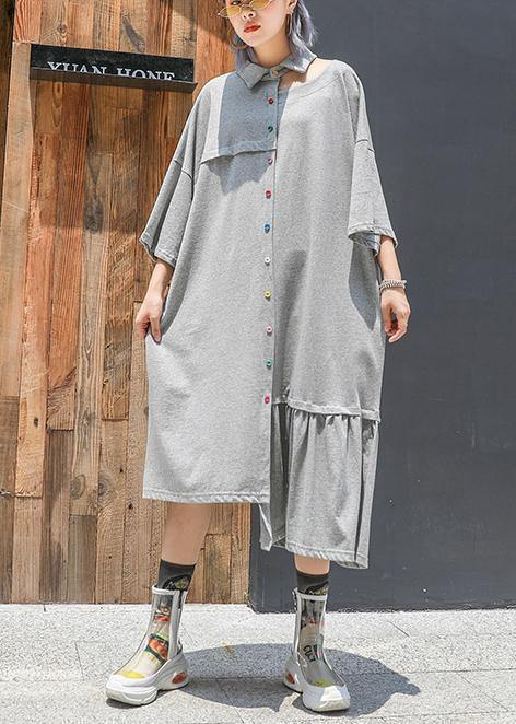 Style gray cotton clothes lapel wrinkled long asymmetric summer Dresses