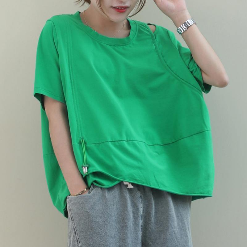 Style green cotton clothes For Women o neck baggy cotton shirt