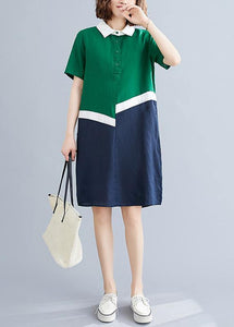 Style green cotton linen quilting clothes Peter pan Collar shift summer Dresses