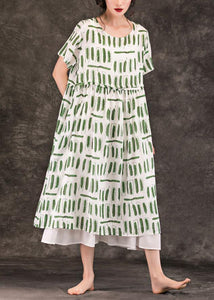 Style green striped linen dresses o neck pockets long summer Dress