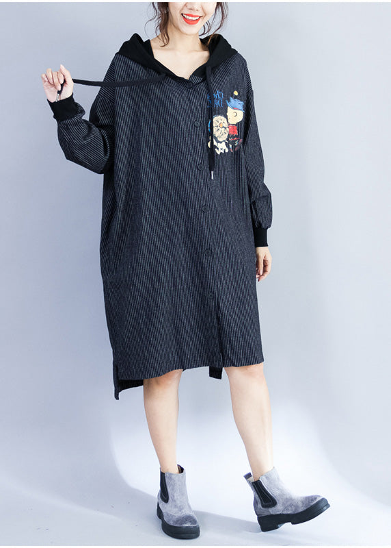 Style hooded Cotton Wardrobes pattern black striped Knee Dresses spring